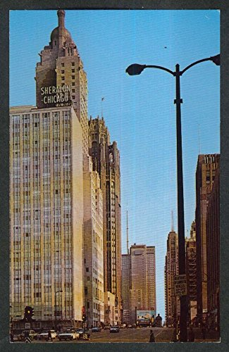 Looking South Along N Michigan Ave Chicago IL postcard 1960s (Chicago Michigan Il Ave)