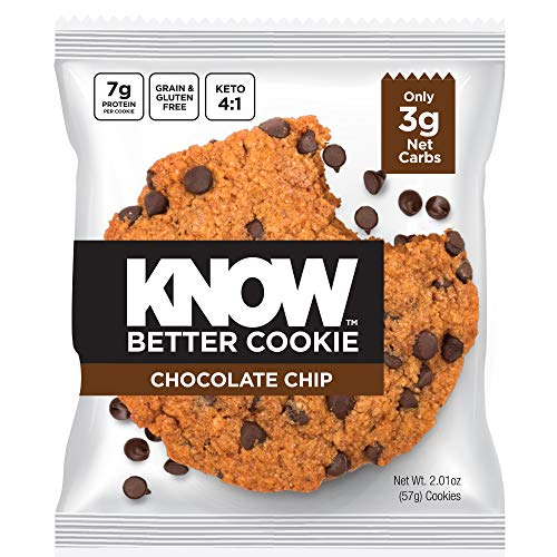 KNOW Foods - KNOW Better Cookie, Chocolate Chip, Keto Snack, Low Carb Snack, Protein Cookie, Gluten Free, 2.01oz Cookie, 8 Count, Packaging May Vary (Sugar Cookies Carb Low Free)