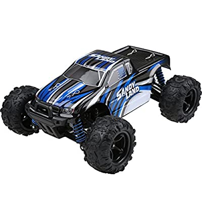 SainSmart Jr. RC Rock Off-Road Car, 2.4Ghz 4WD High Speed 1:18 Full Scale, 30MPH Radio Control Racing Crawler, Blue [Black Friday Deals]