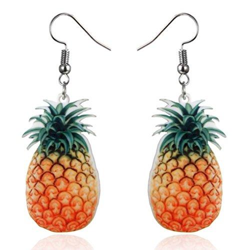 Celendi_Jewelry Large Fruit Strawberry Pineapple Drop Dangle Hook Earrings Gift for Women