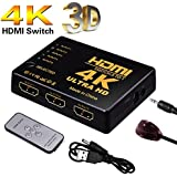 5 in 1 out HDMI Switch Splitter Intelligent 5-Port HDMI Switcher Supports 4K 3D Full HD1080p with Remote for Nintendo Switch, Xbox, Roku 3, Apple TV, HD TV, PS3 PS4 (Black)