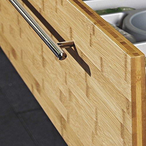 Lomadox Badezimmer Waschtisch Set mit Unterschrank Bambus massiv &  LED-Spiegelschrank