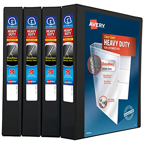 "Avery 1"" Heavy Duty View 3 Ring Binder, One Touch Slant Ring, Holds 8.5"" x 11"" Paper, 4 Black Binders (79868)"