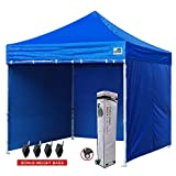 gazebo curtains with velcro Eurmax 10x10 Ft Easy Pop-up Canopy Commercial Instant Party Tent with 4 Removable Sides and Roller Bag, Bonus 4pcs Weight Bags (Royal Blue)