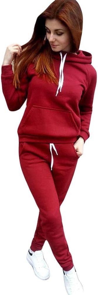 Dooxii Femmes Automne Hiver Manches Longues Capuche Sweatshirts Jogging Pantalons 2 Pi/èce Ensemble Surv/êtement