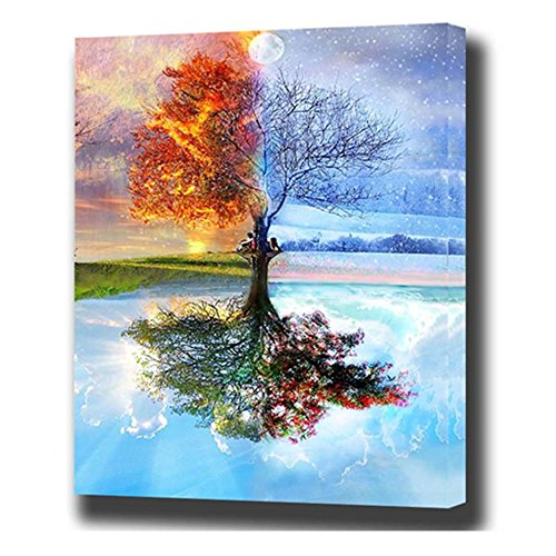 DIY Paint by Numbers Kit 16x20 Inches Fire and Frozen Tree Landscape Oil Painting for Adults and Kids (Without Frame)