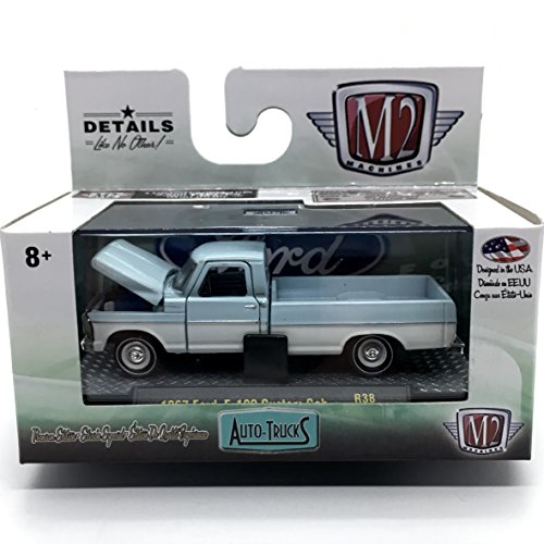 M2 Machines 1967 Ford F-100 Custom Cab Truck (Arcadian Blue Top and Pure White Bottom) Auto-Trucks Series Release 38-2016 Castline Premium Edition 1:64 Scale Die-Cast Vehicle (R38 16-24) ()