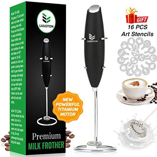 Luxoton Premium Handheld Milk Frother – Rapid Mixer Electric Foam Maker Hand Mixer for Bulletproof Coffee Latte…