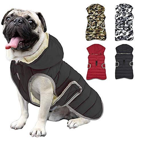 Impermeable Chaqueta Abrigada para Perros, Reflectante Abrigo con Sombrero Desmontable, Invierno Chaleco Felpa Chaqueta