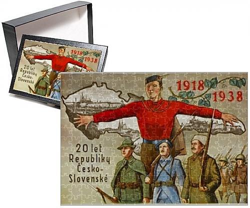 Czech National Costumes - Photo Jigsaw Puzzle of Card celebrating 20 years of Czechoslovakia