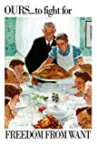 Norman Rockwell Freedom From Want WWII War Propaganda Art Print by Norman Rockwell 24 x 36in with Poster Hanger
