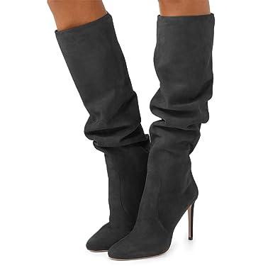 08697c87b97 Amazon.com   XYD Women Round Toe Knee High Suede Boots Stiletto High ...