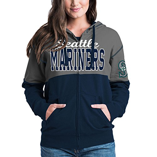 Seattle Mariners Women's French Terry Zip Up Color Block Hoodie (Seattle Mariners Womens Hoody Sweatshirt)
