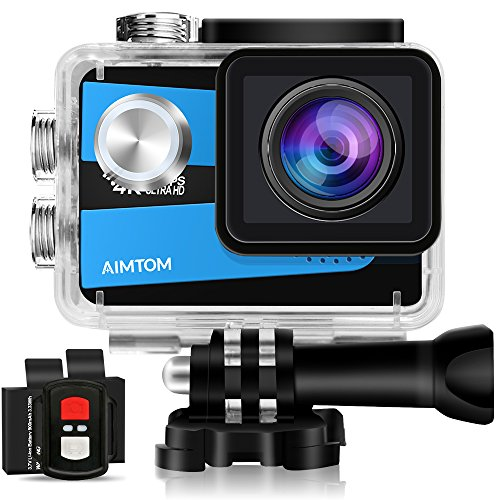 AIMTOM Sports Camera 4K Ultra HD 98FT Waterproof WiFi Action Video Cam 2 Inch LCD Screen 16MP SONY Sensor, 170 Degree Wide Angle with Remote Control 2 Rechargeable Batteries AIMTOM