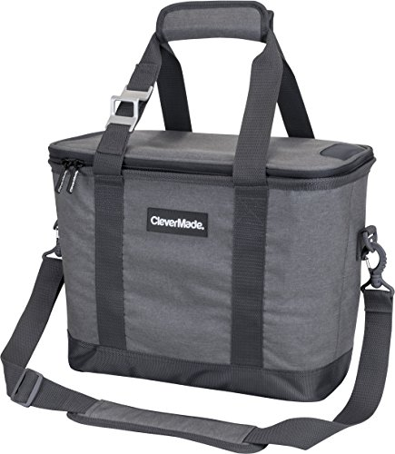 CleverMade SnapBasket 30 Can Soft-Sided Collapsible Cooler: 20 Liter Insulated Tote Bag with Shoulder Strap, Grey/Charcoal