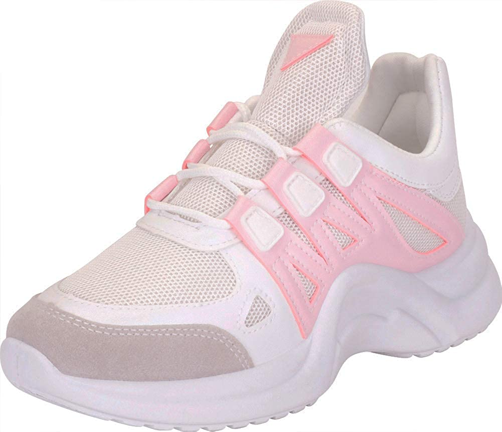 Pink Cambridge Select Women's Retro 90s Ugly Dad Lace-Up Chunky Platform Fashion Sneaker
