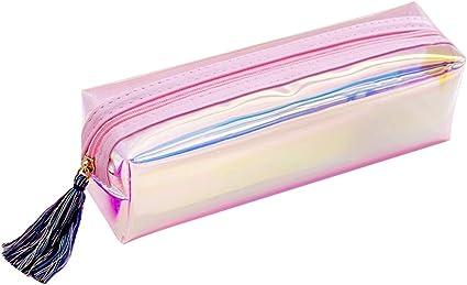 cicianco - Estuche de papel de carta con purpurina transparente, creativo, de PVC, ideal como regalo escolar, color rosa M: Amazon.es: Oficina y papelería