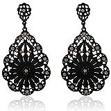 DDLBiz Women Vintage Fashion Elegant Flower Rhinestone Ear Stud Earrings