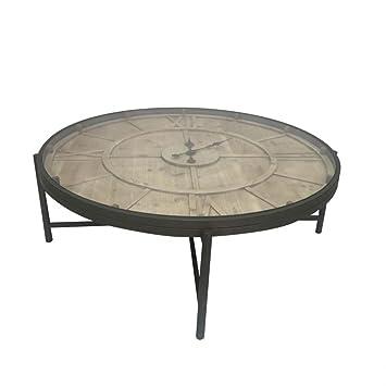 2a9caf38075218 Table basse ronde avec horloge en métal et pin 106x106x37cm FERSCOTT ...