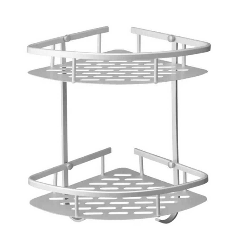 Woopower Wand Ablage, doppelte –  Ebene Dreikant Aluminium Aufbewahrung Shelves-Kitchen Home Regal Balkon Rack Haken –  Badezimmer Dusche Bad organisiert Halterung fü r Shampoos/Dusche Gel