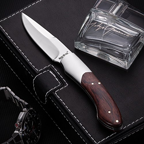 Folding Pocket Knife - Folding Knife - EDC and Outdoor Fold Classic Stainless Steel Polished Bowie Blade with Wooden Handle - Best Strong Pocket Knife for Urban and Hiking - Grand Way 4154 W by Grand Way (Image #5)