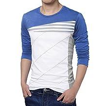 uxcell Men Color Block Stripes T-Shirt