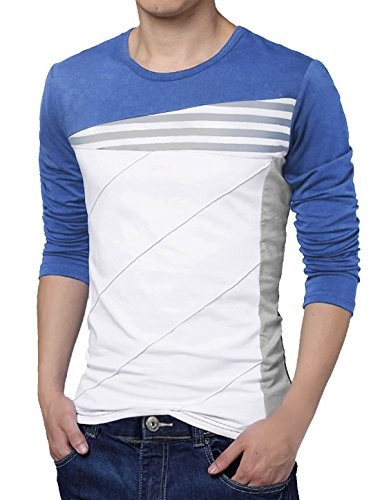 uxcell Men Long Sleeves Color Block Stripes Tee Shirt Medium Royal