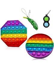 4-pack Push Pop Bubble Fidget Sensorisk leksak, Rainbow Silicone Stress Reliever Toy, Autism Special Needs Stress Reliever Toy, Squeeze Sensorisk leksak för vuxna, barn och vänner- Flerfärgad