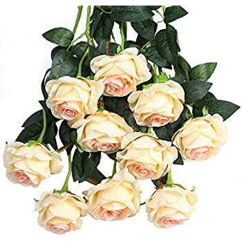 Luyue Artificial Silk Rose Flower Bouquet Wedding Party Home Decor, Pack of 10 (Style 1-Light Champagne)