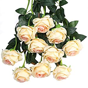 Luyue Artificial Silk Rose Flower Bouquet Wedding Party Home Decor, Pack of 10 (Style 1-Light Champagne) 32