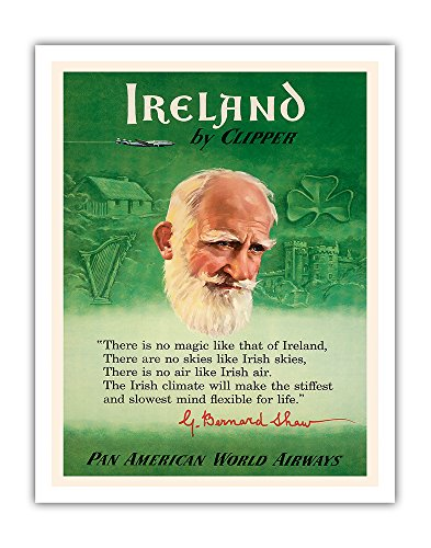 Ireland by Clipper - Pan American World Airways - George Bernard Shaw PAN AM - Vintage Airline Travel Poster c.1950s - Fine Art Print - 11in x 14in
