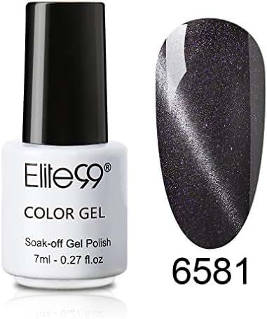 Elite99 UV LED 3D Cat Eye Effect Nail Gel Polish Magnetic Soak Off Varnish 6581 Shimmer Black Currant
