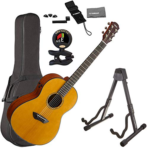Yamaha CSF-TA TransAcoustic Parlor Acoustic-Electric Guitar Natural with Hard-Shell Guitar Case, Guitar Stand, Guitar Strap, Guitar Tuner, Guitar Picks, String Winder and Polishing Cloth