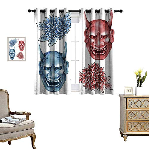 homehot Kabuki Mask Decoration Window Curtain Drape Different Colored Masks of Japanese Demoness Ornate Flowers Art Decorative Curtains for Living Room Blue Red White ()