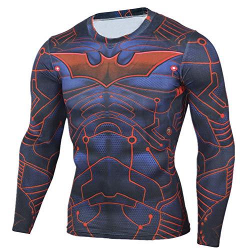 PKAWAY Long Sleeve Compression Shirt Batman Quick Running Tee 3XL -
