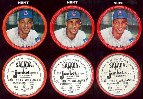 1963 salada tea coins (Baseball) Card# 30 billy williams of the Chicago Cubs ExMt Condition