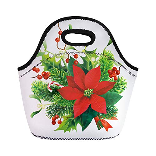 - Semtomn Neoprene Lunch Tote Bag Green Christmas Fir Mistletoe Holly Branches and Poinsettia Flower Reusable Cooler Bags Insulated Thermal Picnic Handbag for Travel,School,Outdoors,Work