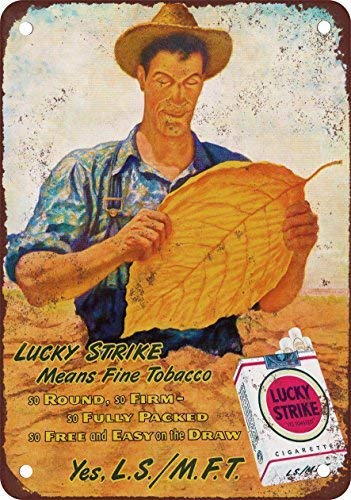 - Lucky Strike Tobacco Farmer Vintage Look Reproduction Metal Tin Sign 8X12 inches