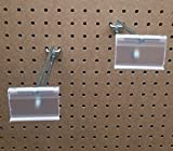 8 Inch Heavy Duty Pegboard Scanner Hooks with 2 By 1-1/4 Inch Flip Up Clear Label Holders 100 Pack