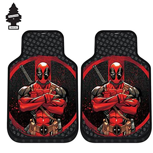 Car Mats New Set (A Pair of New Design Marvel Deadpool Auto Truck SUV Car Front Floor Mats Set with Air Freshener)