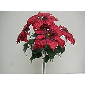 """RED Christmas Poinsettia Glitter Bush Artificial Silk Flower 18"""" Bouquet 5-139 RD 92"""