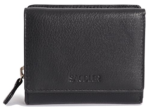 SADDLER Women Genuine Leather Compact Trifold Wallet & Zipper Coin Purse - -