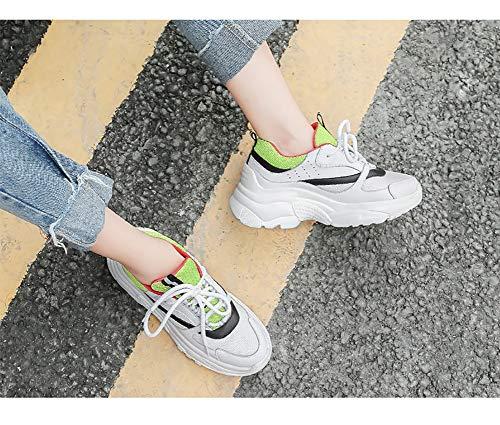 Cordones para Deporte Casual Green Zapatillas HWF Mujer Zapatos de Mujer Caminar Ocio mujer Tamaño Green Atlético Zapatillas White con Otoño White 35 para Deportivas Zapatos Color p18nd76x