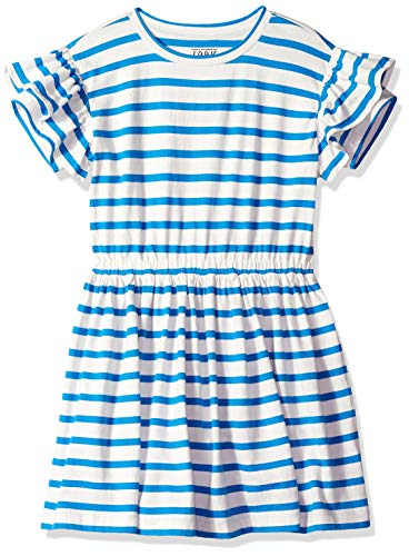 LOOK by Crewcuts Girls' Ruffle Sleeve Dress, Blue Stripe, Small - Blue Ruffle Girls Dress