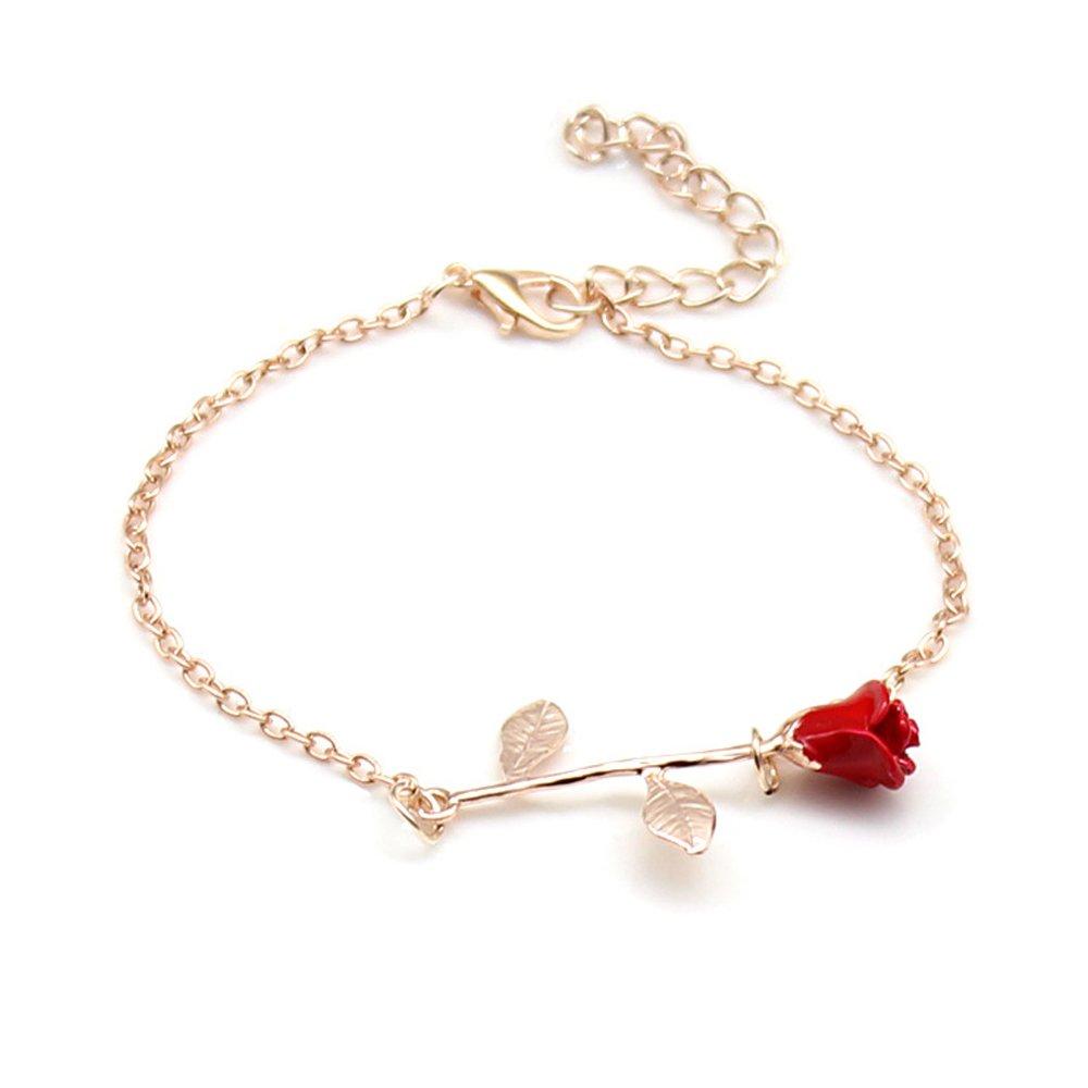 CHOA 3D Rose Bracelet,Charm Gold Silver Personalized Rose Pendant Bracelet for Women Girls (red Rose Rose Gold)