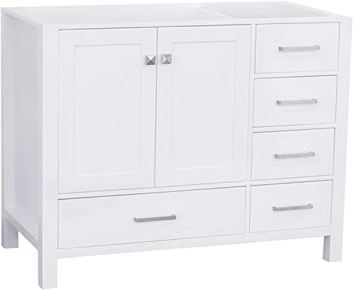 ARIEL 42 inch White Bathroom Vanity Base Cabinet with Left Offset Sink Configuration 2 Soft Closing Doors and 5 full Extension Dovetail Drawers Satin Nickel Hardware 42 x 21.5 x 33.5