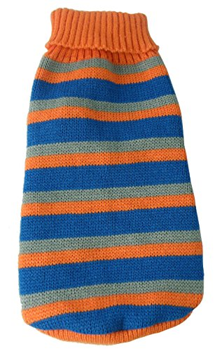 - Pet Life Striped Polo'' Heavy Cable Knited Fashion Designer Pet Dog Sweater, Medium, Orange, Blue and Grey