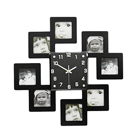 Amazoncom Vosarea Picture Frame Wall Clock With 8 Photo Frames