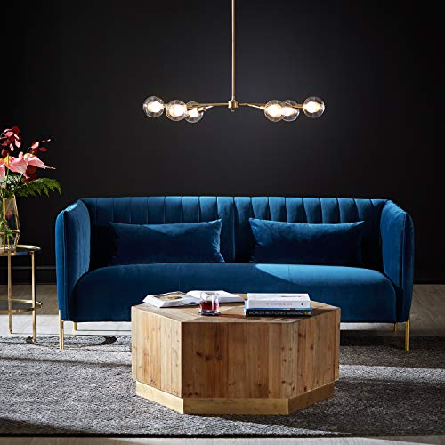 "Rivet Frederick Mid-Century Modern Tufted Velvet Sectional Sofa Couch, 77.5""W, Navy Blue"