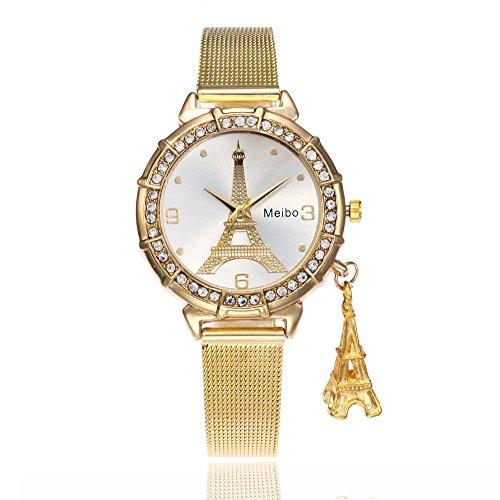 Han Shi Watches, Women Fashion Casual Business Eiffel Tower Quartz Wristwatch Round Clock (L, Gold)